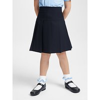 John Lewis and Partners Girls Generous Fit Adjustable Waist Stain Resistant Panel Pleated School Skirt, Navy