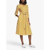 Boden Olivia Belted Cheetah Shirt Dress, Yellow