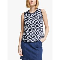 Boden Romaine Linen Sleveless Abstract Top, Multi