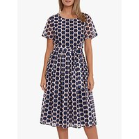Gina Bacconi Eloriah Geometric Print Dress, Navy