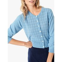 Brora Cashmere Pointelle Cardigan, Periwinkle
