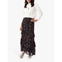 Brora Floral Silk Skirt, Carbon/Spice