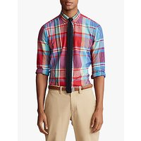 Polo Ralph Lauren Custom Slim Fit Madras Check Shirt, Blue/Cherry