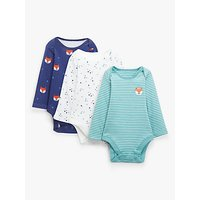 John Lewis and Partners Baby GOTS Organic Cotton Fox Bodysuit, Pack of 3, Multi