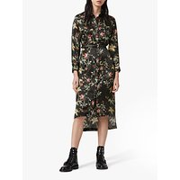 AllSaints Esther Evolution Floral Print Midi Dress, Black/Multi
