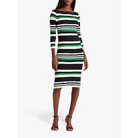 Lauren Ralph Laured Jenikia Casual 3/4 Length Sleeve Striped Dress, Hedge Green/White