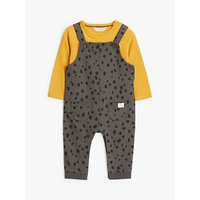 John Lewis & Partners GOTS Organic Cotton Spot Print Dungaree Set, Charcoal