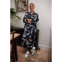 Kin Painterly Brushstroke Print Dress, Navy/Multi