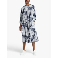 Kin Linear Print Smock Dress, Navy/White