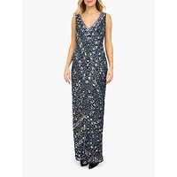 Beaded Dreams Embellished Sleeveless V-Neck Maxi Dress, Navy Blue