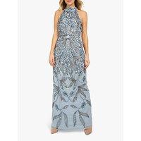 Beaded Dreams Embellished Halter Maxi Dress, Baby Blue