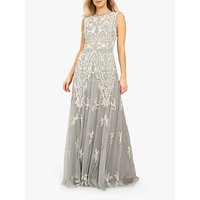 Beaded Dreams Embellished Sleeveless Maxi Dress, Light Grey