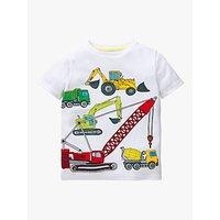 Mini Boden Boys Applique Construction Vehicle T-Shirt, White