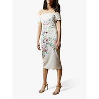 Ted Baker Trixiiy Scalloped A Floral Print Bardot Midi Dress, Natural Ivory