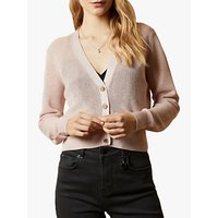 Ted Baker Madieyy Button Front V Neck Cardigan, Baby Pink
