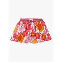 Mini Boden Girls Retro Floral Jersey Skort, Pink/White