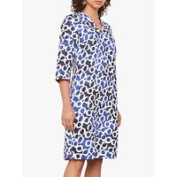 Jaeger Chain Linen Shift Dress, Blue/White