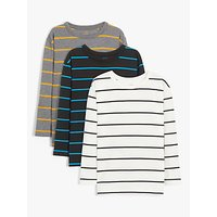 John Lewis and Partners Boys Long Sleeve Stripe T-Shirts, Pack of 3, Multi