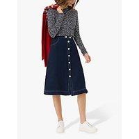 Brora Linen Contrast Stitch Skirt, Navy