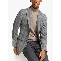John Lewis and Partners Overcheck Tailored Fit Blazer, Black / White