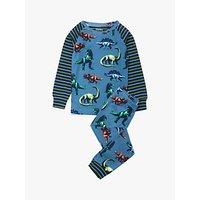 Hatley Boys' All Over Dinosaur Stripe Print Pyjama Set, Blue