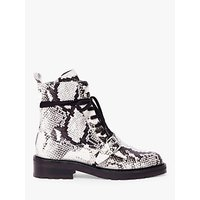 AllSaints Donita Leather Biker Lace Up Boots, Black/White
