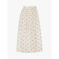L.K.Bennett Glinda Spot Embroidered Silk Organza Skirt, Cream/Multi