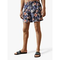 Ted Baker Inspect Tropical Floral Swim Shorts, Mid Blue