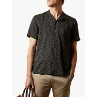 Ted Baker Snooze Large Diamond Print Cuban Collar Shirt, Black