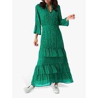Brora Star Silk Embroidered Maxi Dress, Emerald
