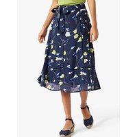 Brora Tulip Print Linen Skirt, Navy/Lime