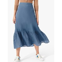 Brora Gauzy Linen Midi Skirt, Lake Blue
