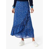 Brora Silk Ruffle Abstract Maxi Skirt, Mussel and White