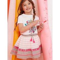 Mintie by Mint Velvet Girls' Textured Flare Skirt, Pink/Multi