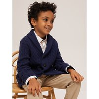 John Lewis and Partners Heirloom Collection Boys Shawl Neck Cardigan, Navy
