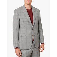 Jaeger Single Breasted Check Wool Suit Jacket, Grey
