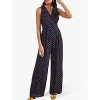 Yumi Wrap Spot Print Sleeveless Jumpsuit, Navy/Multi
