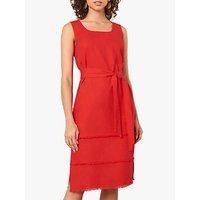 Jaeger Square Neck Fringed Hem Dress, Red