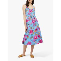 Monsoon Dhana Linen Floral Midi Dress, Blue/Multi