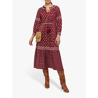 Monsoon Heshna Abstract Midi Dress, Berry
