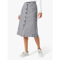 Brora Monochrome Check Midi Skirt, Swan and Carbon