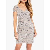 Adrianna Papell Beaded Blouson Mini Dress, Marble