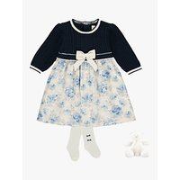 Emile et Rose Baby Talita Dress, Tights and Teddy Set, Blue