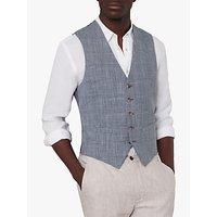 Jaeger Linen Blend Check Slim Fit Waistcoat, Light Blue