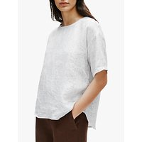 EILEEN FISHER Organic Linen Check Box Tunic Top, White