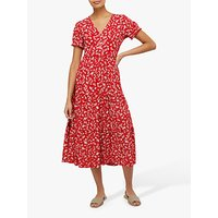 Monsoon Natty Ditsy Print Floral Dress, Red