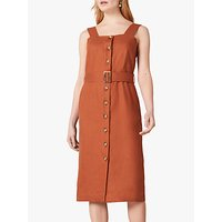 Jaeger Button Linen Midi Dress, Brown