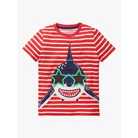 Mini Boden Boys Novelty Appliqué Shark T-Shirt, White/Red