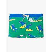 Image of Mini Boden Boys' Surfing Dinosaur Swim Trunks, Blue