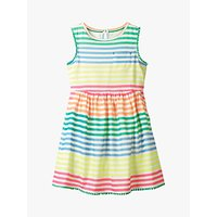 Mini Boden Girls' Rainbow Stripe Dress, Neon
